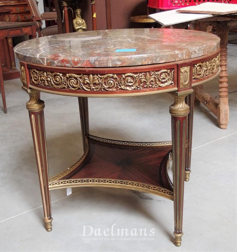 Centre Table Round Marble Top Bronze Ornaments Signed Sormani Louis XVI Style  19th Century. Category: Furniture