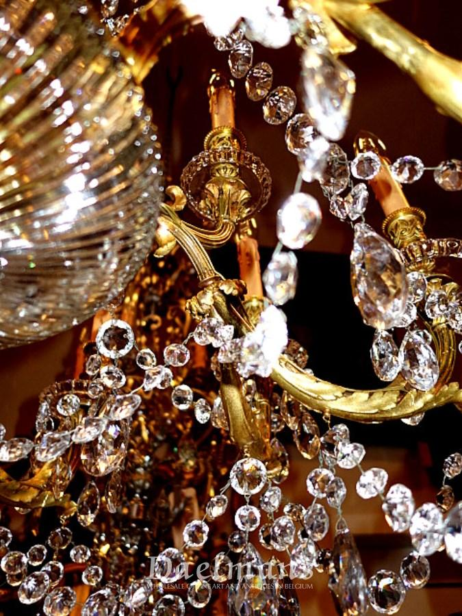 Large Cut Crystal And Bronze Signed Baccarat Chandelier
