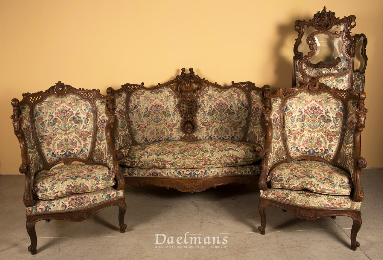 louis xv style salon suite a sofa pair of bergeres and paravent ...