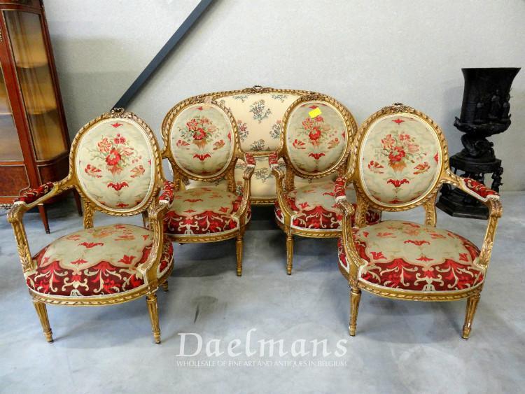 Salon Style Louis 16 louis xvi style giltwood five pieces salon suite - seats / salon